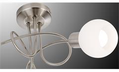 LED Deckenleuchte Loxy Nickel Glas weiß Deckenlampe Spot mit Leuchtmittel 3-flg