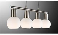 LED Jojo Balken Hängeleuchte Loxy Nickel Glas weiß Hängelampe 4-flg Leuchtmittel