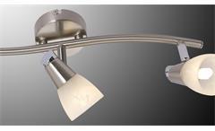 LED Deckenleuchte Laika Deckenlampe Nickel Glas alabaster 3-flg mit Leuchtmittel