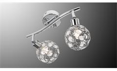LED Deckenspot LARGA Chrom Metall Acryl-Deko 2-flg mit Leuchtmittel