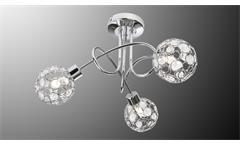 LED Deckenleuchte LARGA Chrom Metall Acryl-Deko 3-flg mit Leuchtmittel
