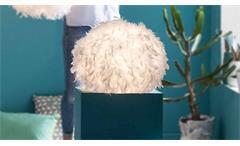 Tischleuchte DUCKY Lampe Stoffkugel mit Federn weiß