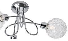 LED Deckenleuchte Ryder Deckenlampe chrom Glas Drahtgeflecht 3flg Leuchtmittel