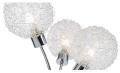 LED Tischleuchte Ryder Tischlampe 3-flg chrom Glas Drahtgeflecht Leuchtmittel