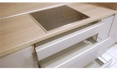 Einbauküche Nobilia Ausstellungsküche Küche hell braun Hochglanz Eiche E-Geräte