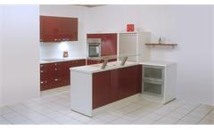Einbauküche Nobilia Ausstellungsküche Küche bordeaux Hochglanz weiß mit E-Geräte