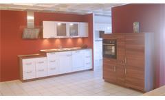 Einbauküche Nobilia Ausstellungsküche in weiß und Walnuss E-Geräte