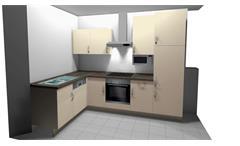Einbauküche Nobilia Ausstellungsküche magnolia soft matt mit E-Geräten