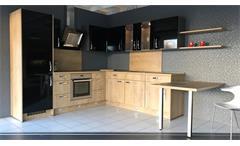 Einbauküche Nobilia Ausstellungsküche schwarz Hochglanz Eiche E-Geräte