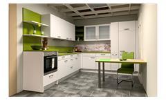 Einbauküche NOBILIA Ausstellung weiß grün mit E-Geräte