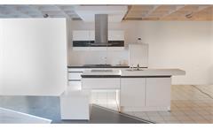 Einbauküche Nobilia Ausstellungsküche  Insel weiß Hochglanz E-Geräte