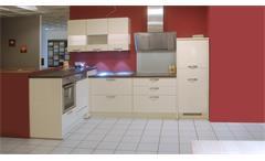 Einbauküche Nobilia Ausstellungsküche crema Hochglanz braun E-Geräte