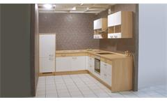 Einbauküche Nobilia Ausstellungsküche L-Form in weiß matt mit E-Geräten