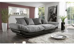 Megasofa ROSE in schwarz und Webstoff grau weiß 300 cm