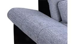 Ecksofa Anna Wohnlandschaft Sofa in schwarz grau Recamiere rechts 286x186 cm