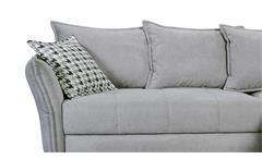 Ecksofa Carabella Stoff grau inkl. Bettfunktion und Armteilverstellung 280x187