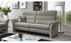 Sofa FRANCIS 3-Sitzer in silber beige Kaltschaum Kopfteilverstellung