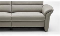 Sofa Francis 3-Sitzer silber beige inkl. Kaltschaum Kopfteilverstellung 204 cm