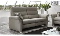 Sofa FRANCIS 2,5-Sitzer in silber beige Kaltschaum Kopfteilverstellung