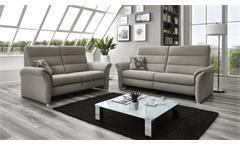 Sofa Francis 2,5-Sitzer silber beige inkl. Kaltschaum Kopfteilverstellung 178 cm