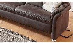 Sofa 2,5-Sitzer Polstersofa Couch Leila in Microfaser anthrazit Kopfteilverstellung 184 cm
