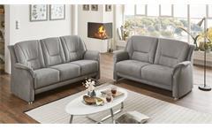 Sofa Garnitur PEDINA Polstergarnitur Couch Set 2-teilig grau
