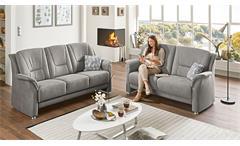 Sofa Garnitur Polstergarnitur Couch Set 2-teilig Pedina in Microfaser Feeling grau