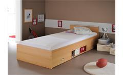 Bett Mega Stauraumbett Kinderzimmerbett in Buche mit Schubkasten 90x200