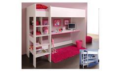 Etagenbett SMOOZY 3 weiß Kiefer mit blau oder pink 90x200