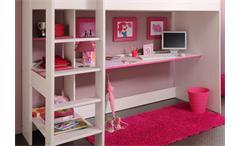 Etagenbett Smoozy 3 Hochbett Kinderbett Bett Kiefer weiß blau oder pink 90x200