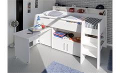 SWAN Hochbett mit Schreibtisch Weiß - 90x200