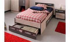 Bett FABRIC Kinderbett Einzelbett in Esche und grau 90x200