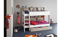 Etagenbett TAYLOR 1 Hochbett Kinderbett in weiß und grau Loft