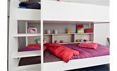 Etagenbett Taylor Hochbett Kinderbett in weiß und grau Loft mit Leiter