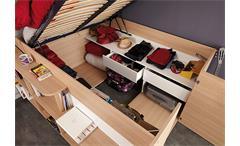 Hochbett Space Up Bett in Baltimore Eiche mit Stauraum und Hydraulik 140x200