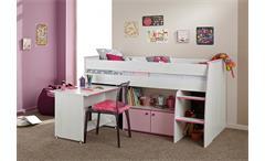 Hochbett Zoe Etagenbett in Kiefer weiß und pink mit Schreibtisch und Leiter
