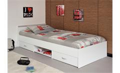 Bett Jugendbett Einzelbett 90x200 cm in weiß mit Schubkästen