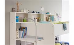 Etagenbett Bibop Hochbett in weiß Dekor mit Treppe Bücherregalen Stauraum