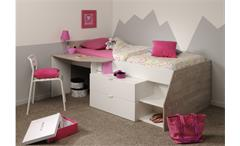 Hochbett Folk Etagenbett mit Leiter Schreibtisch Kommode Eiche hell weiß