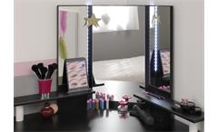Eck Schminktisch Volage schwarz weiß mit LED Beleuchtung Frisierkommode Spiegel