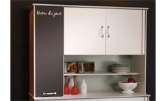 Buffet Bistrot 2 Mehrzweckschrank Küchenschrank Highboard weiß mit Absetzungen
