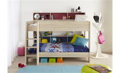 Etagenbett Charly 1 Akazie 2 Schläfplätze drehbare Rückwand Kinderhochbett