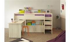 Halbhohes Bett Charly 2 Hochbett Etagenbett Akazie mit Schreibtisch und Kommode