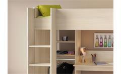 Hochbett Charly 3 Etagenbett in Akazie mit Schreibtisch Leiter und Kleiderstange