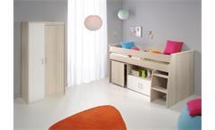 Kinderzimmer Charly 5 2-teilig Hochbett Akazie weiß Treppe Schreibtisch Schrank