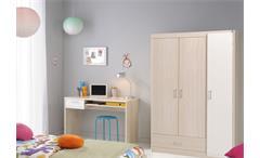 Jugendzimmer Charly 5 4-teilig Kinderzimmer Schreibtisch Schrank Bett Akazie weiß