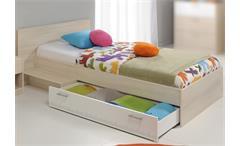 Bett Charly Kinderbett Stauraumbett Jugendbett in Akazie und weiß 90x200 cm