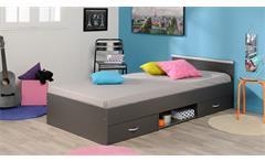 Bett Mega Stauraumbett Schlafzimmerbett in grau mit Schubkasten 90x200