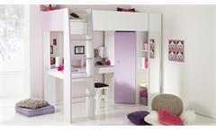 Hochbett MILAS in weiß lila mit Kleiderschrank Schreibtisch