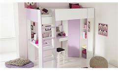 Hochbett Milas weiß lila mit Kleiderschrank Schreibtisch Kinderbett Etagenbett